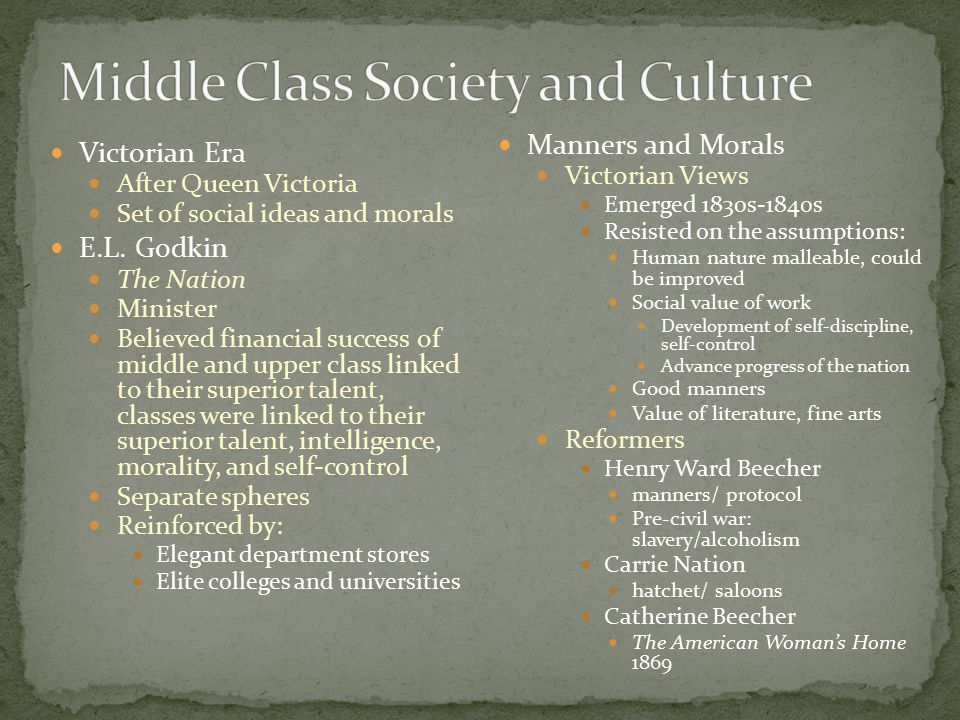 Victorian Era After Queen Victoria Set of social ideas and morals E.L. Godkin The Nation Minister Believed financial success of middle and upper class