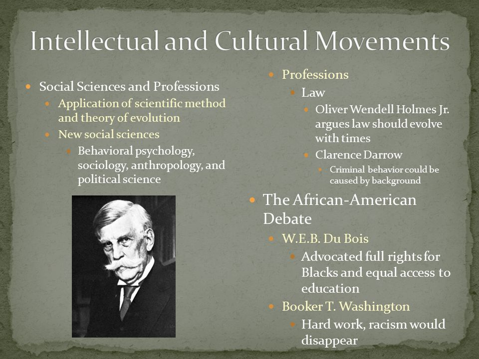 Social Sciences and Professions Application of scientific method and theory of evolution New social sciences Behavioral psychology, sociology, anthropology, and political science Professions Law Oliver Wendell Holmes Jr.