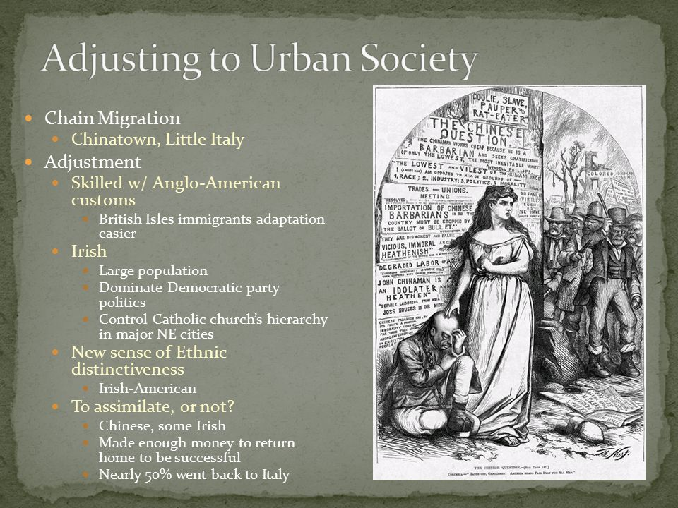 Chain Migration Chinatown, Little Italy Adjustment Skilled w/ Anglo-American customs British Isles immigrants adaptation easier Irish Large population