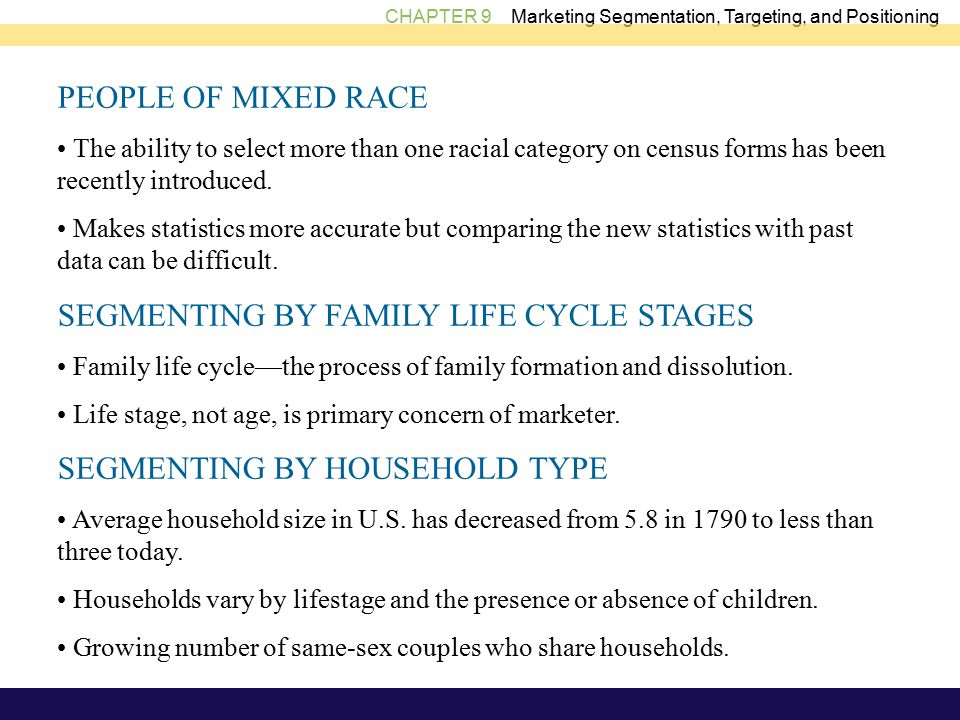 CHAPTER 9 Marketing Segmentation, Targeting, and Positioning PEOPLE OF MIXED RACE The ability to select more than one racial category on census forms has been recently introduced.