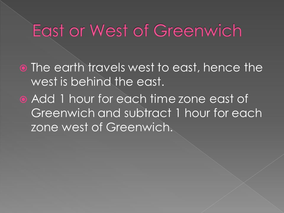  The earth travels west to east, hence the west is behind the east.