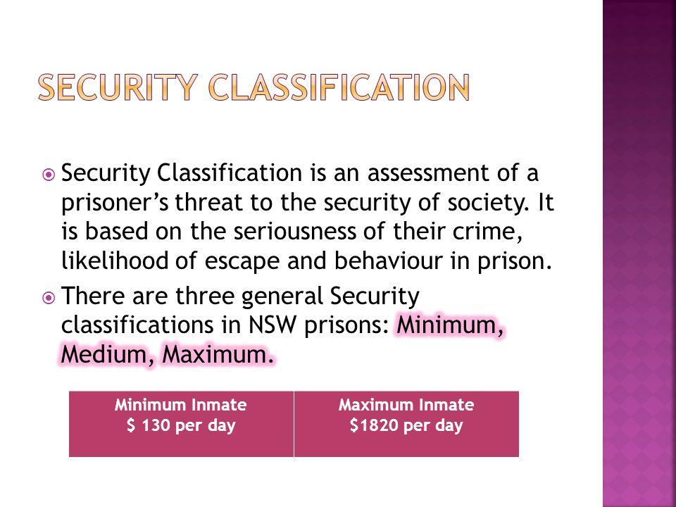 Minimum Inmate $ 130 per day Maximum Inmate $1820 per day