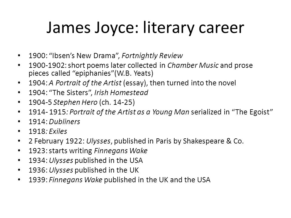 James Joyce: literary career 1900: Ibsen's New Drama , Fortnightly Review 1900-1902: short poems later collected in Chamber Music and prose pieces called epiphanies (W.B.