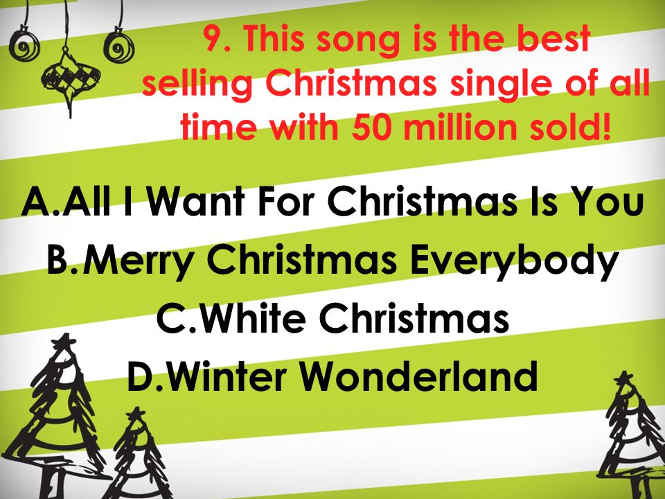 9. This song is the best selling Christmas single of all time with 50 million sold.