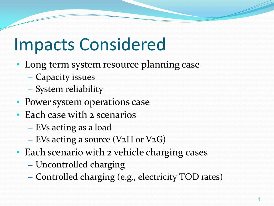 Summary EVs can act as a load, source, or dynamic voltage source Affect the system in different ways EVs introduce additional opportunities and uncertainties into system planning Resource planning Economic and environmental performance Transmission Planning Tools may be needed to forecast future EV penetration and use patterns 55