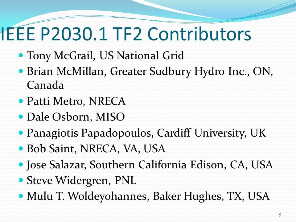 IEEE P2030.1 TF2 Contributors John Bzura, ISO-NE Robert Leavy, Gannett Fleming Transit & Rail Systems Slide #9