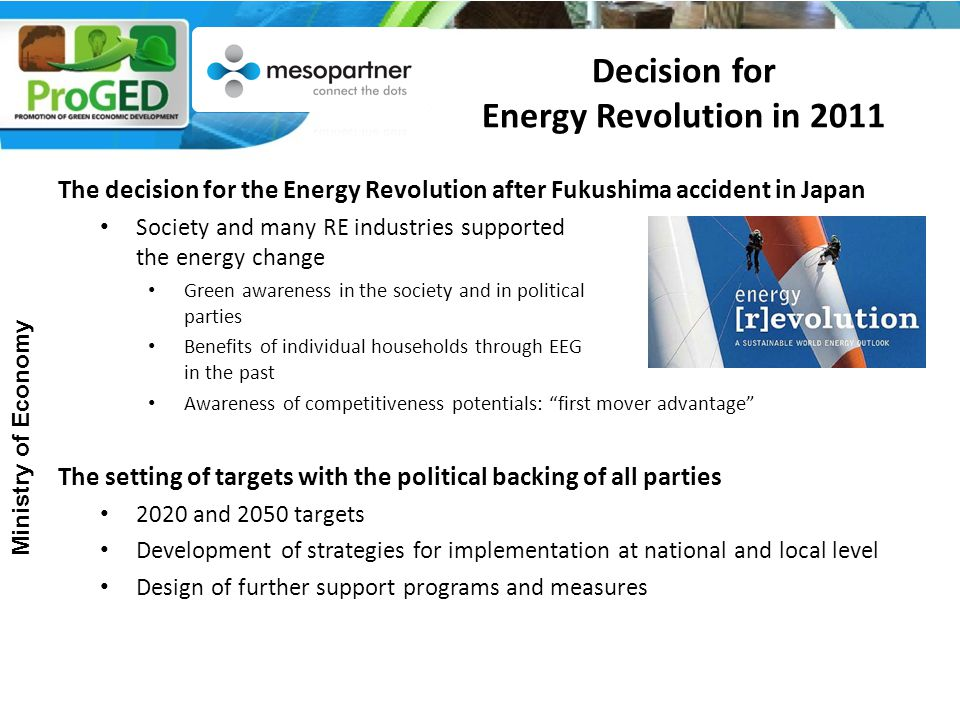 Decision for Energy Revolution in 2011 The decision for the Energy Revolution after Fukushima accident in Japan Society and many RE industries supported the energy change Green awareness in the society and in political parties Benefits of individual households through EEG in the past Awareness of competitiveness potentials: first mover advantage The setting of targets with the political backing of all parties 2020 and 2050 targets Development of strategies for implementation at national and local level Design of further support programs and measures Ministry of Economy