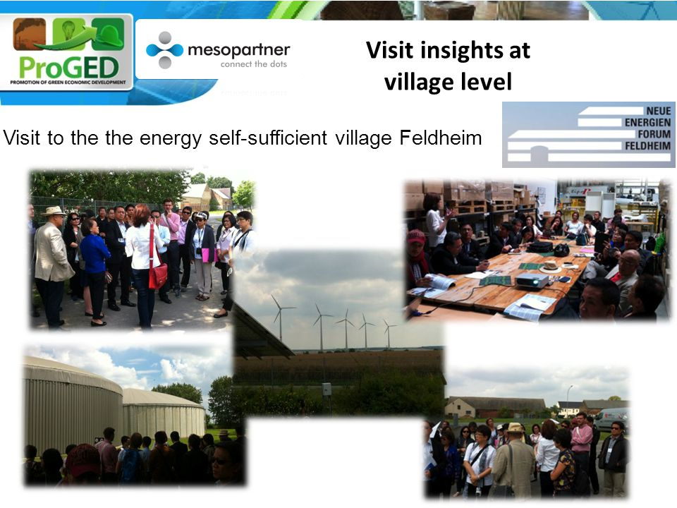 Visit to the the energy self-sufficient village Feldheim Visit insights at village level