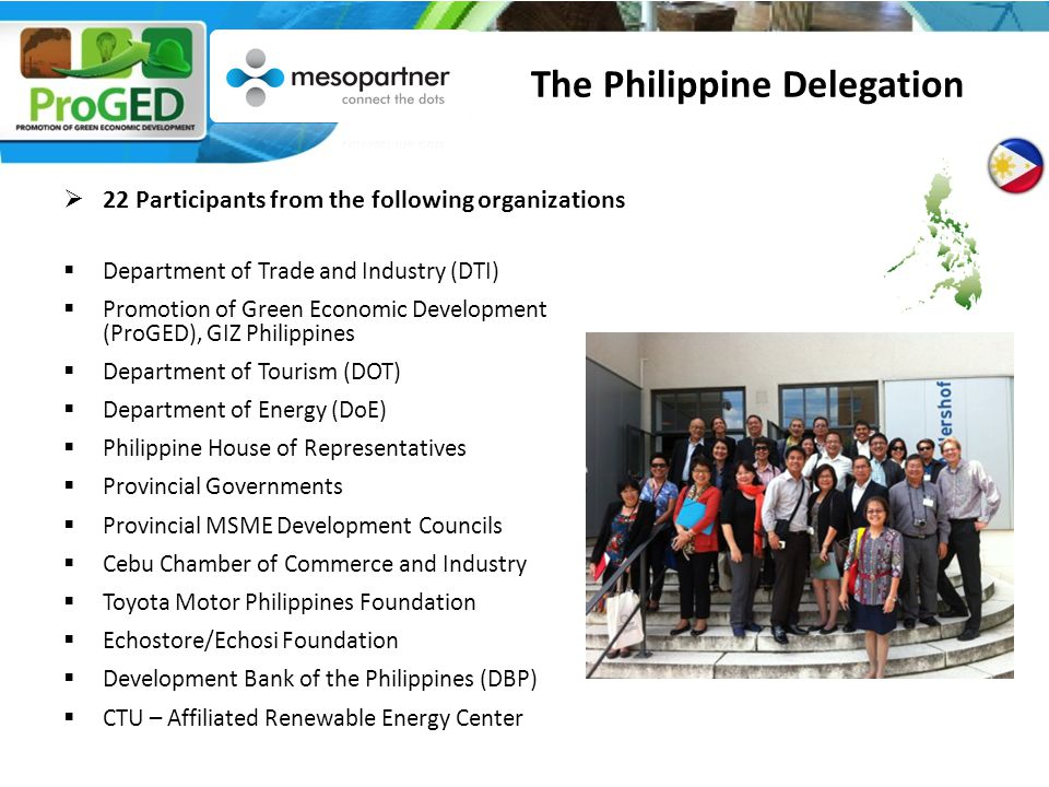  22 Participants from the following organizations  Department of Trade and Industry (DTI)  Promotion of Green Economic Development (ProGED), GIZ Philippines  Department of Tourism (DOT)  Department of Energy (DoE)  Philippine House of Representatives  Provincial Governments  Provincial MSME Development Councils  Cebu Chamber of Commerce and Industry  Toyota Motor Philippines Foundation  Echostore/Echosi Foundation  Development Bank of the Philippines (DBP)  CTU – Affiliated Renewable Energy Center The Philippine Delegation