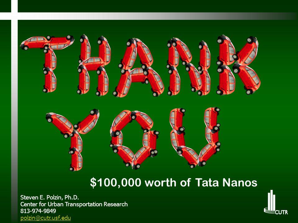 $100,000 worth of Tata Nanos Steven E. Polzin, Ph.D. Center for Urban Transportation Research 813-974-9849 polzin@cutr.usf.edu