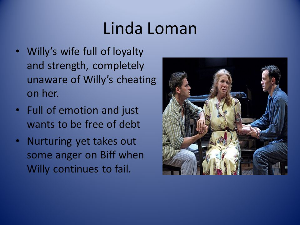 Linda Loman Willy's wife full of loyalty and strength, completely unaware of Willy's cheating on her.