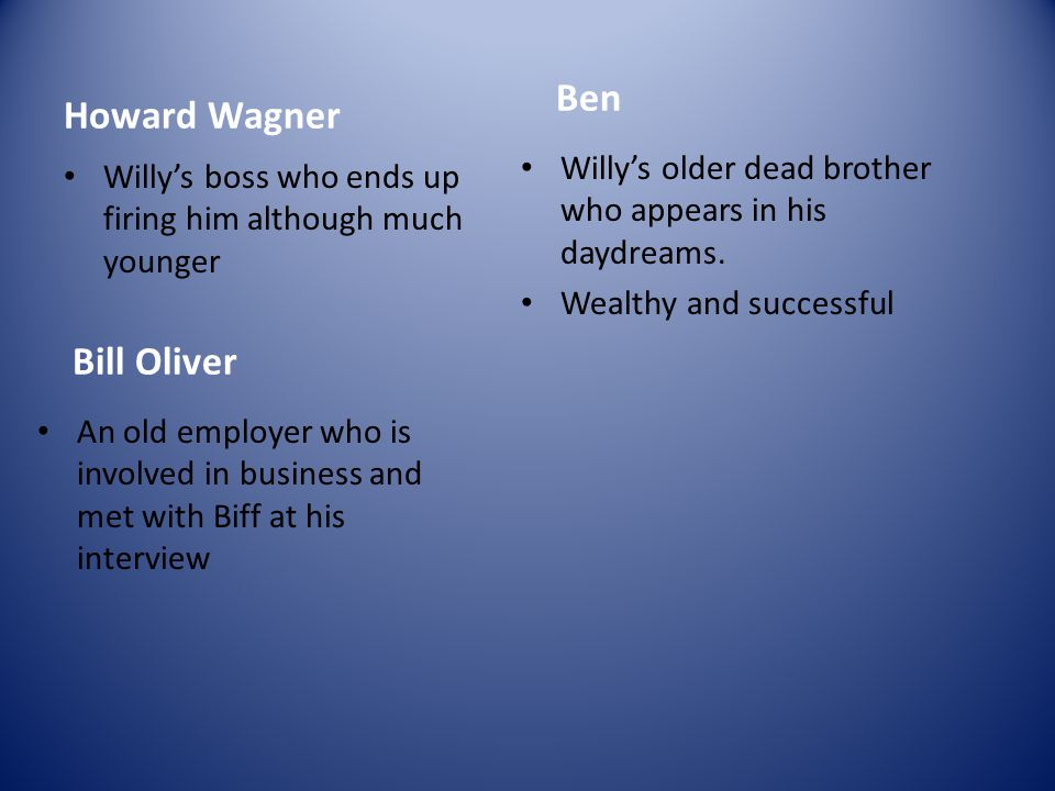 Howard Wagner Willy's boss who ends up firing him although much younger Bill Oliver An old employer who is involved in business and met with Biff at h