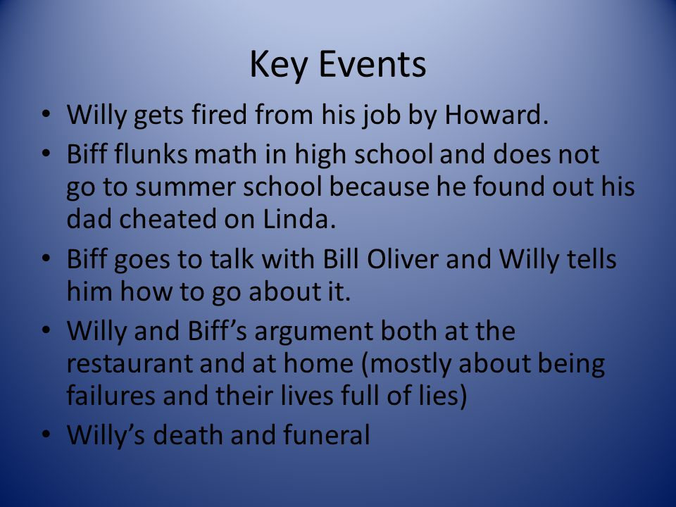 Key Events Willy gets fired from his job by Howard. Biff flunks math in high school and does not go to summer school because he found out his dad chea