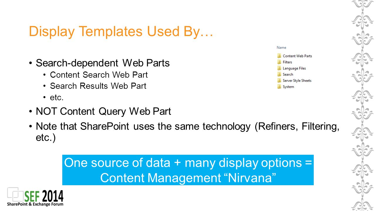 Display Templates Used By… Search-dependent Web Parts Content Search Web Part Search Results Web Part etc.