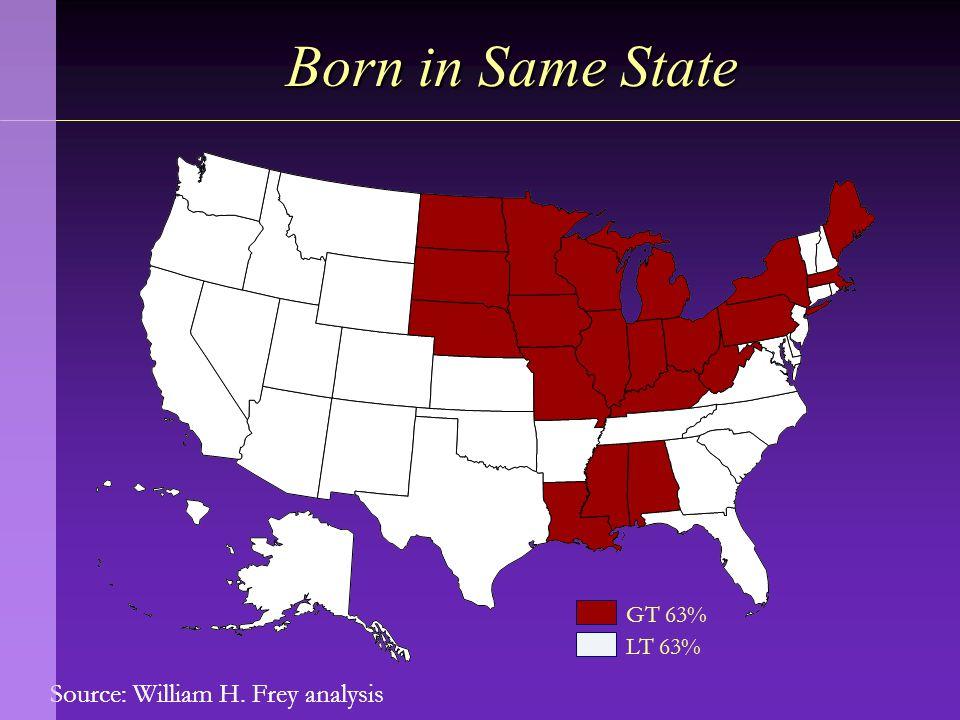 Source: William H. Frey analysis Born in Same State GT 63% LT 63%