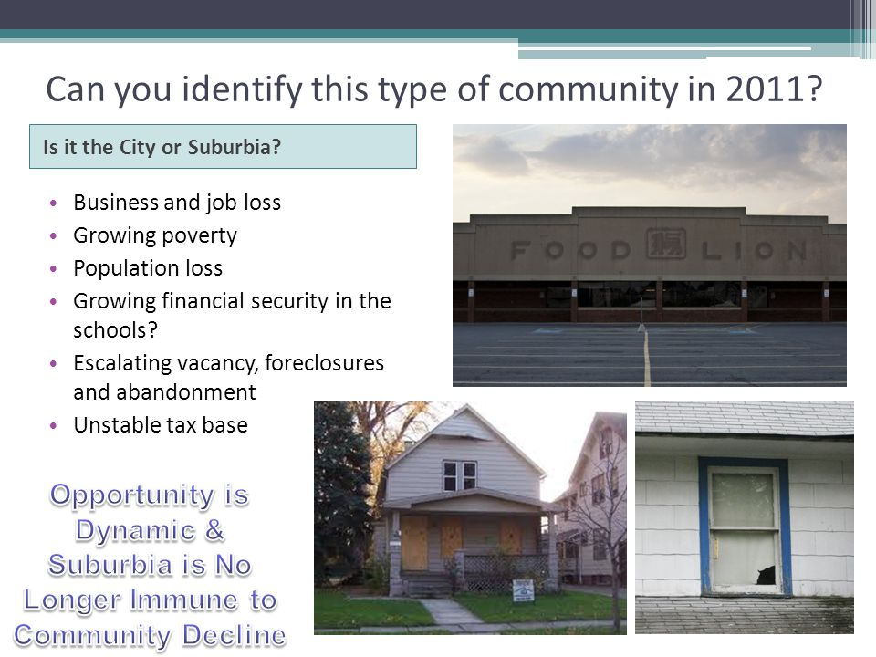 Can you identify this type of community in 2011. Is it the City or Suburbia.
