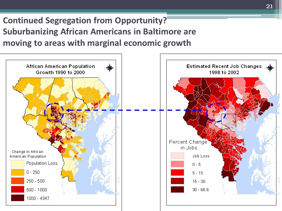 21 Continued Segregation from Opportunity? Suburbanizing African Americans in Baltimore are moving to areas with marginal economic growth