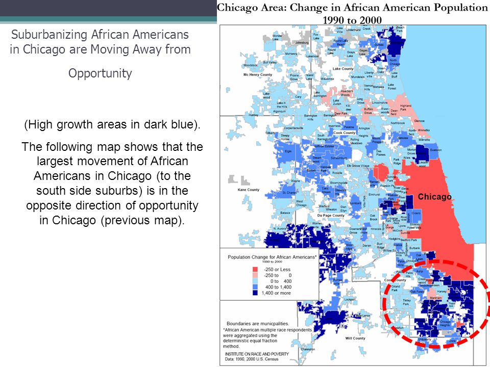 23 Suburbanizing African Americans in Chicago are Moving Away from Opportunity (High growth areas in dark blue).