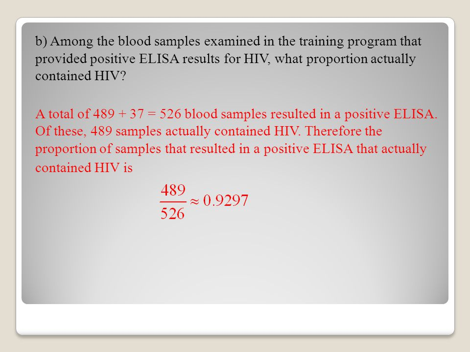 b) Among the blood samples examined in the training program that provided positive ELISA results for HIV, what proportion actually contained HIV? A to