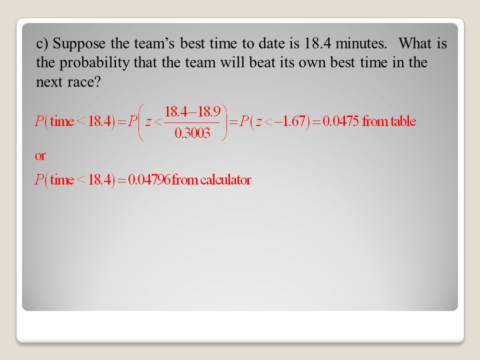 c) Suppose the team's best time to date is 18.4 minutes. What is the probability that the team will beat its own best time in the next race?