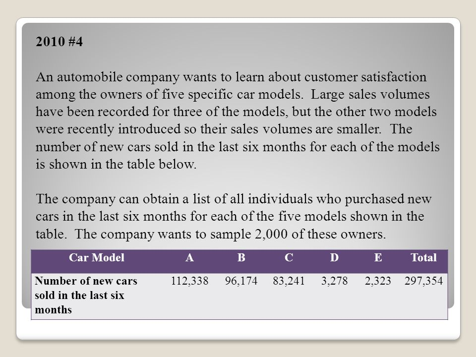 2010 #4 An automobile company wants to learn about customer satisfaction among the owners of five specific car models. Large sales volumes have been r