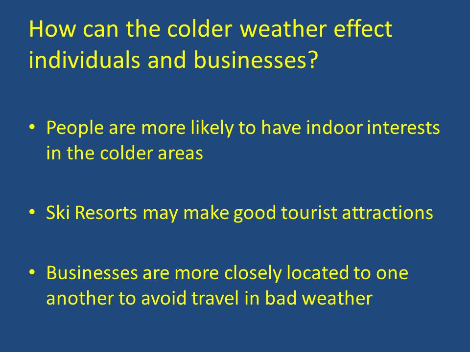 How can the colder weather effect individuals and businesses.