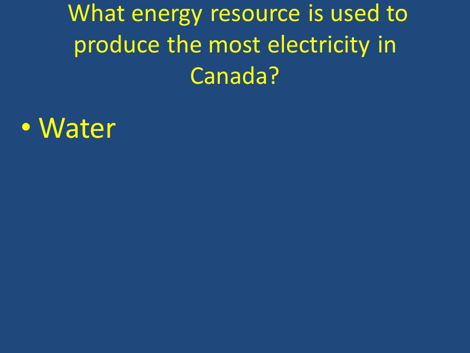 What energy resource is used to produce the most electricity in Canada Water