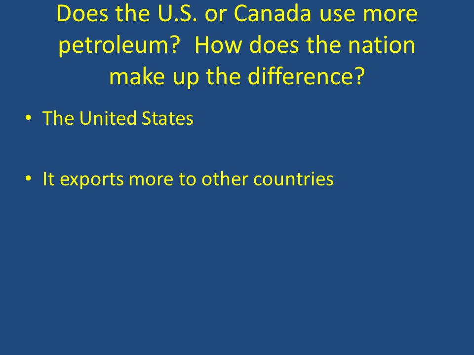Does the U.S. or Canada use more petroleum. How does the nation make up the difference.