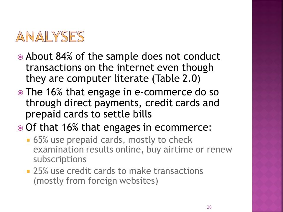  About 84% of the sample does not conduct transactions on the internet even though they are computer literate (Table 2.0)  The 16% that engage in e-