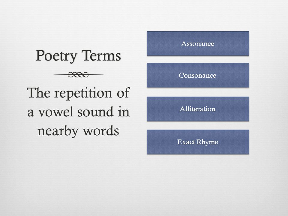 Poetry TermsPoetry Terms The repetition of an initial consonant sound in nearby words Alliteration Consonance Onomatopoeia Assonance