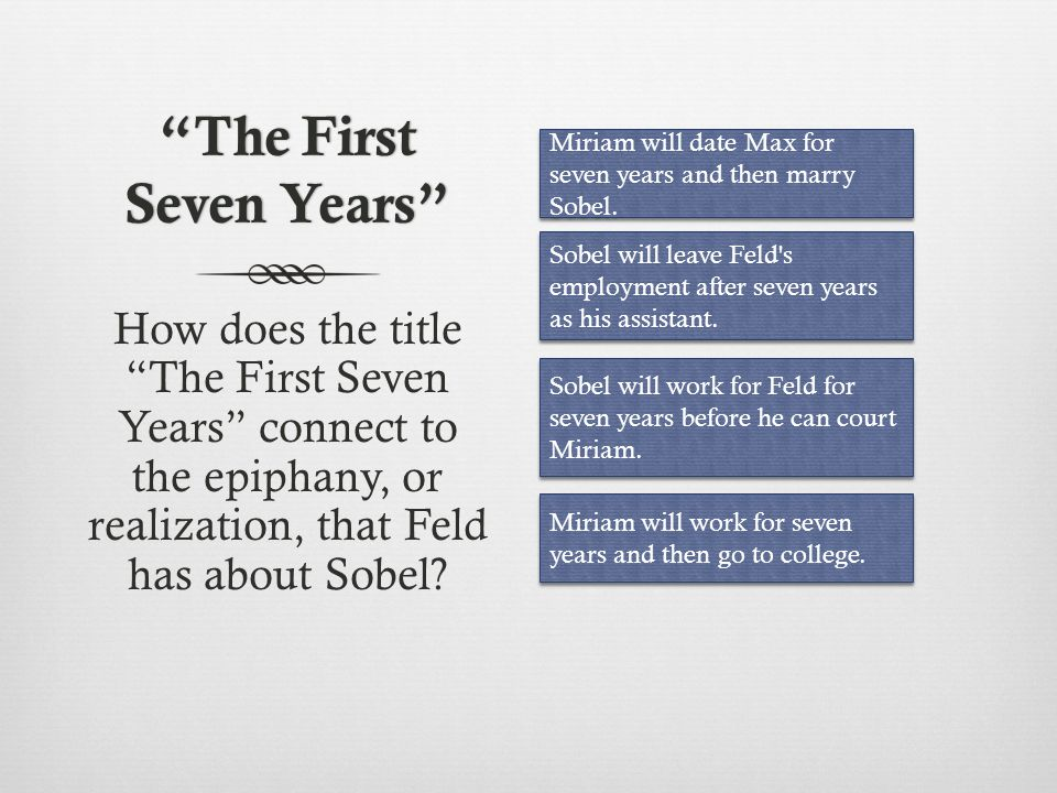 The First Seven Years After a long time, what is Feld s epiphany, or realization, about Sobel.