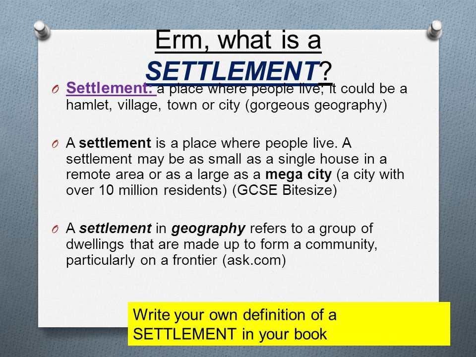 Erm, what is a SETTLEMENT.