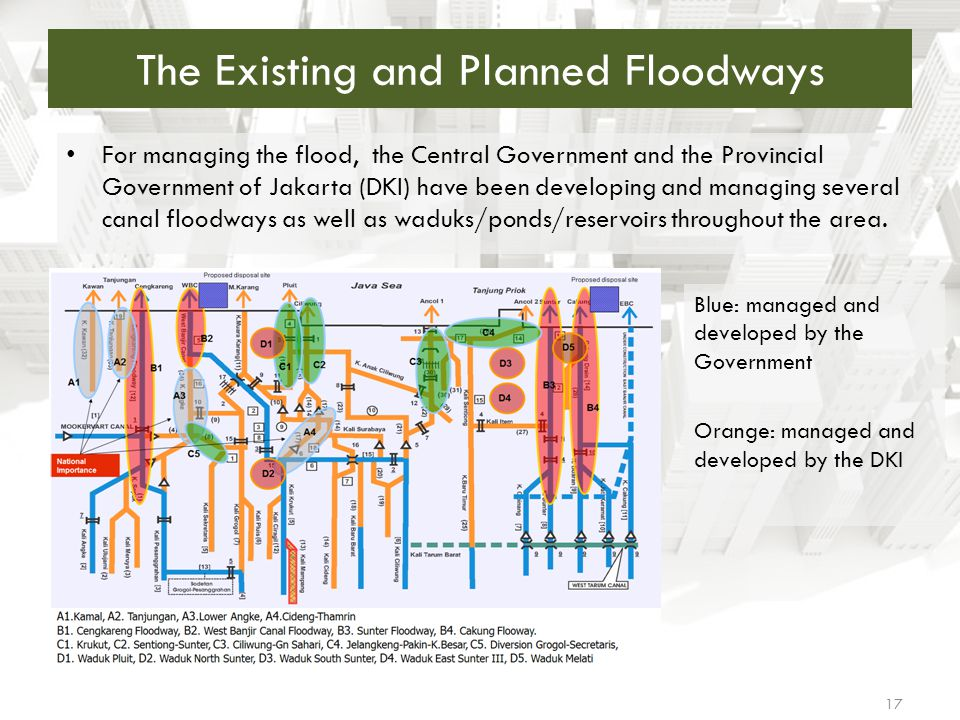 The Existing and Planned Floodways For managing the flood, the Central Government and the Provincial Government of Jakarta (DKI) have been developing
