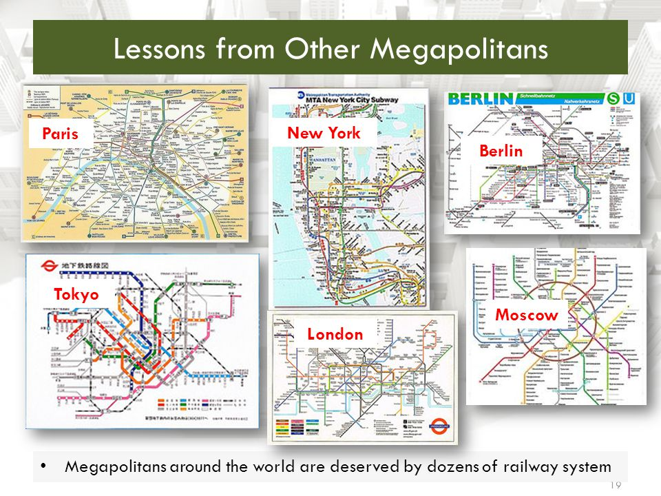 Lessons from Other Megapolitans 19 Megapolitans around the world are deserved by dozens of railway system Paris Tokyo New York London Moscow Berlin