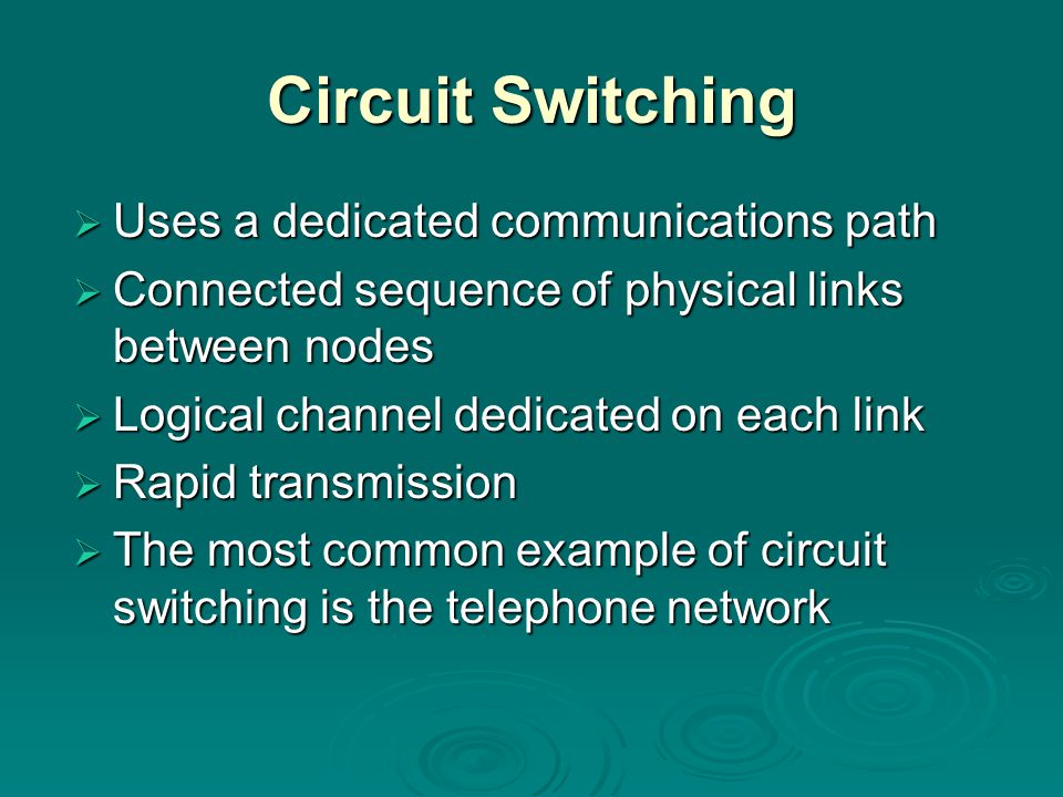 Circuit Switching  Uses a dedicated communications path  Connected sequence of physical links between nodes  Logical channel dedicated on each link  Rapid transmission  The most common example of circuit switching is the telephone network