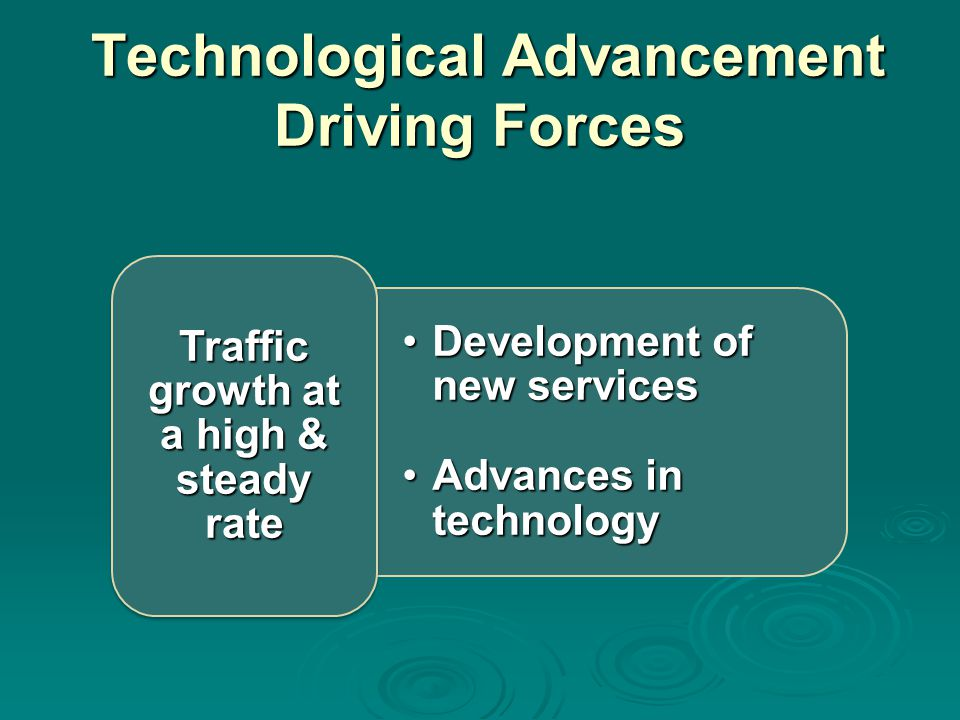 Technological Advancement Driving Forces Technological Advancement Driving Forces Development of new servicesDevelopment of new services Advances in technologyAdvances in technology Traffic growth at a high & steady rate