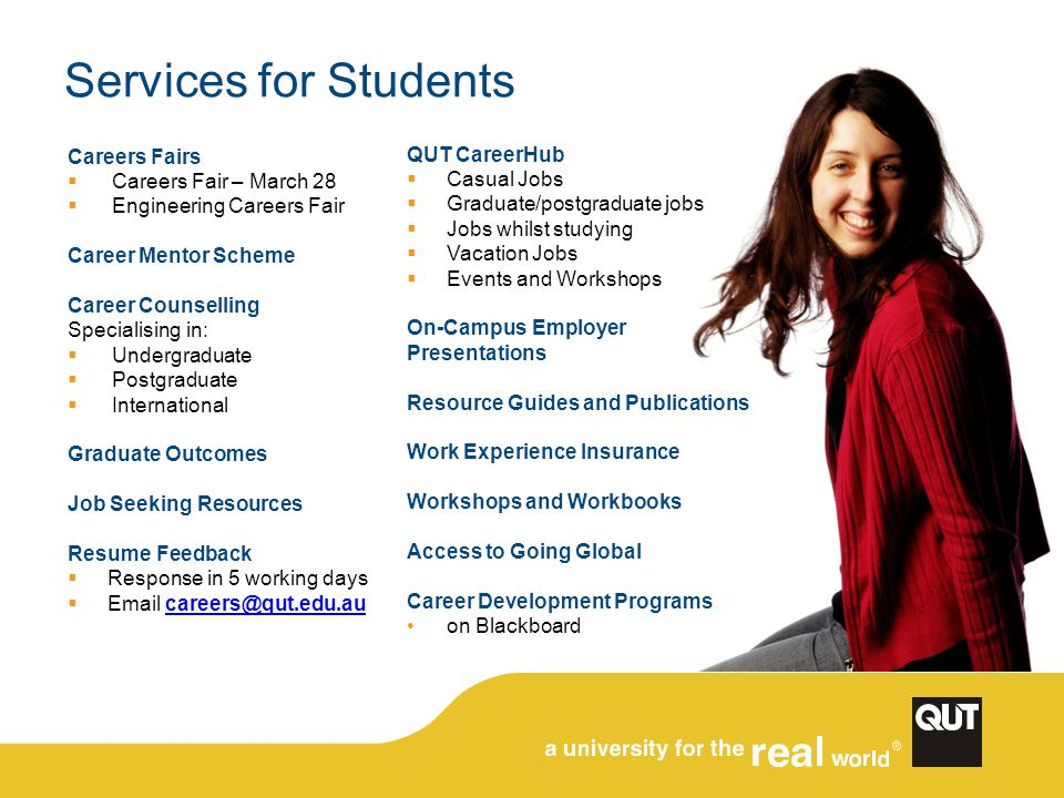 Finding us via the QUT homepage: Search for careers
