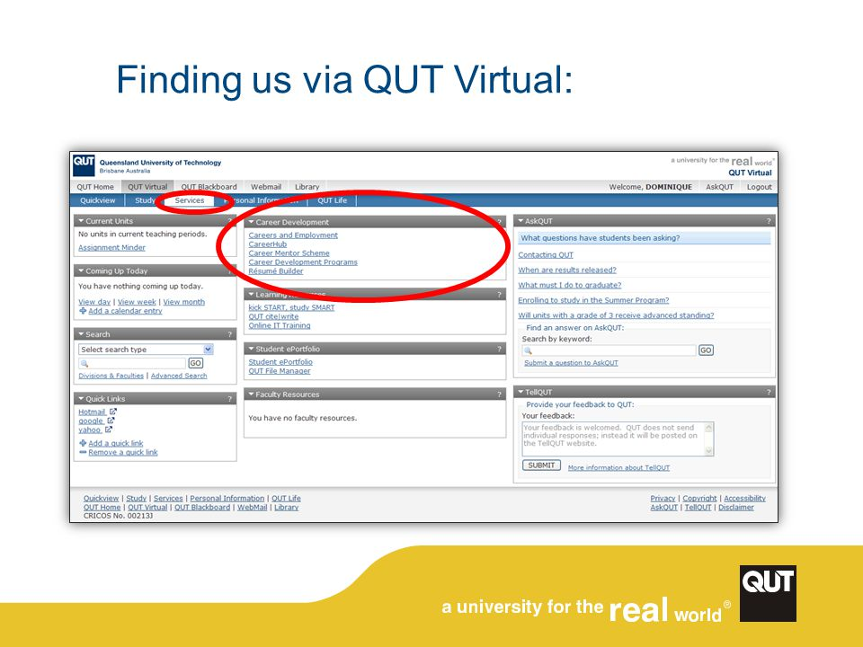 Finding us via QUT Virtual: