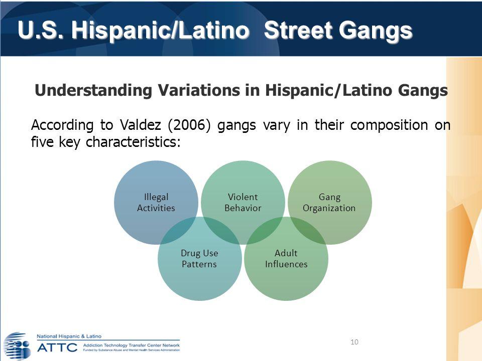 U.S. Hispanic/Latino Street Gangs 10 Understanding Variations in Hispanic/Latino Gangs According to Valdez (2006) gangs vary in their composition on f