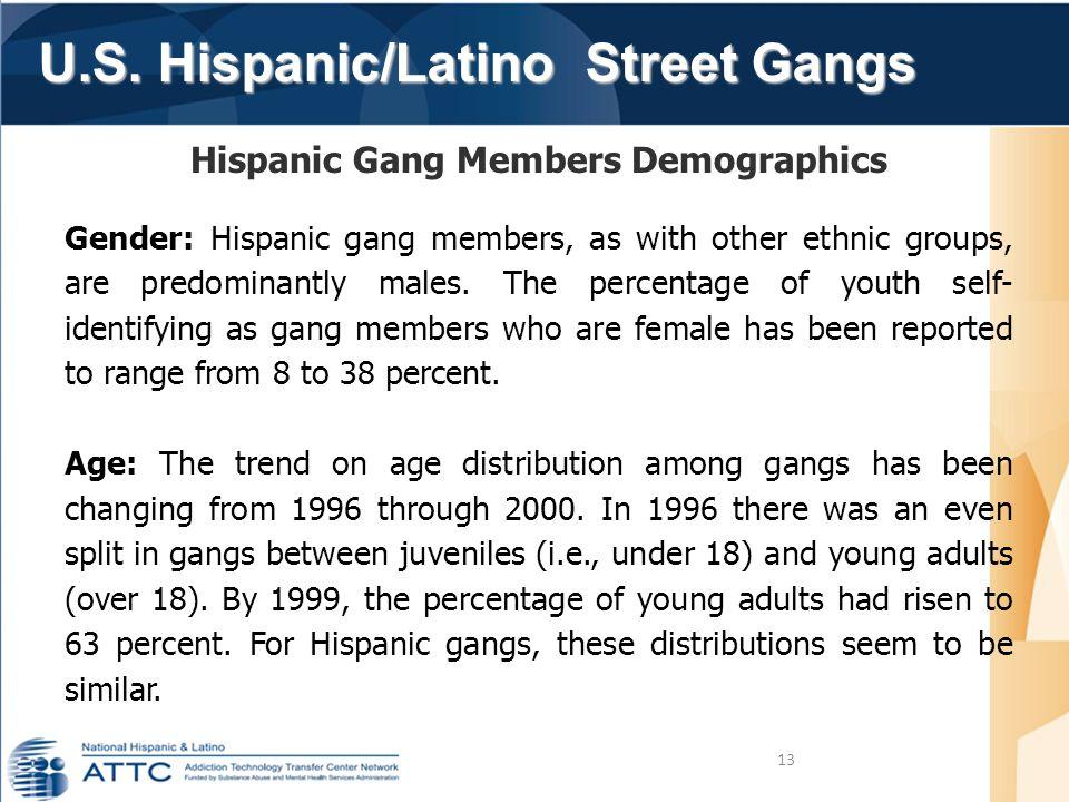 U.S. Hispanic/Latino Street Gangs U.S. Hispanic/Latino Street Gangs 13 Hispanic Gang Members Demographics Gender: Hispanic gang members, as with other