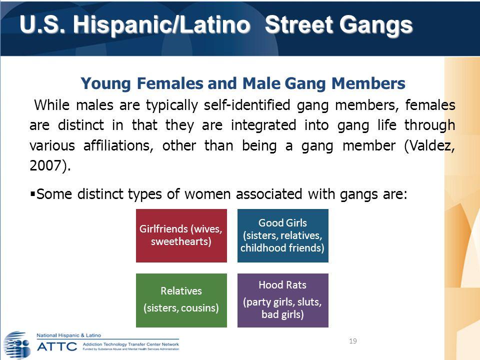 U.S. Hispanic/Latino Street Gangs U.S. Hispanic/Latino Street Gangs 19 Young Females and Male Gang Members While males are typically self-identified g