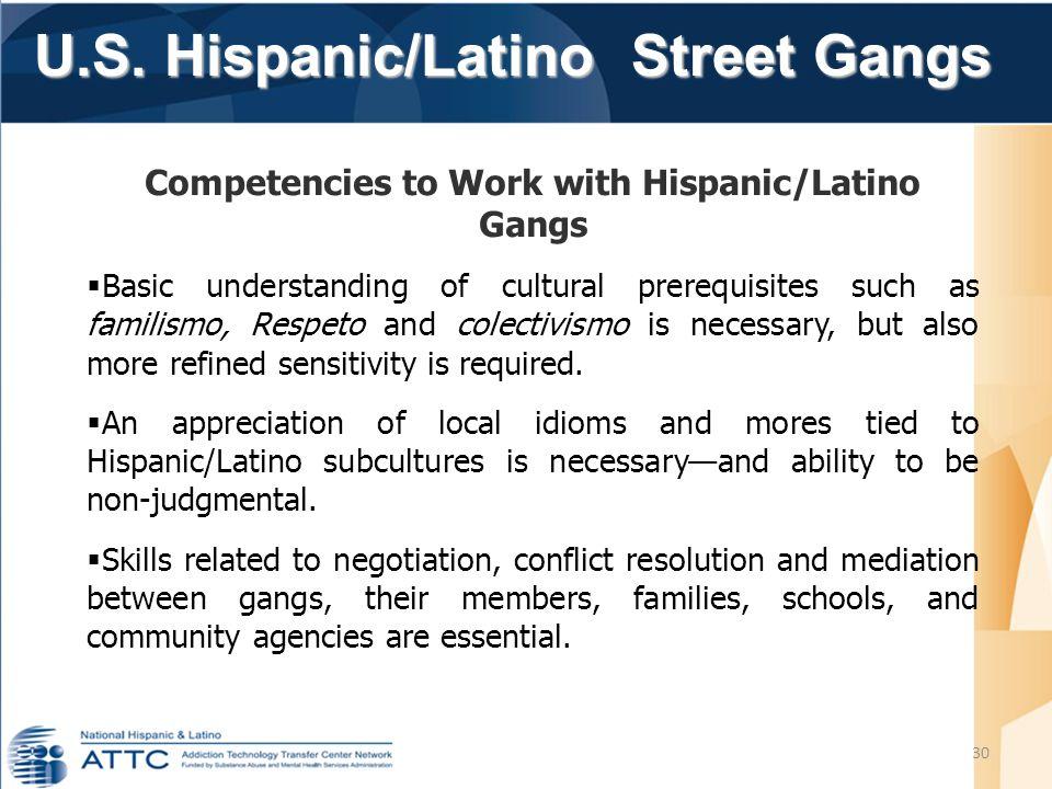 U.S. Hispanic/Latino Street Gangs U.S. Hispanic/Latino Street Gangs 30 Competencies to Work with Hispanic/Latino Gangs  Basic understanding of cultur