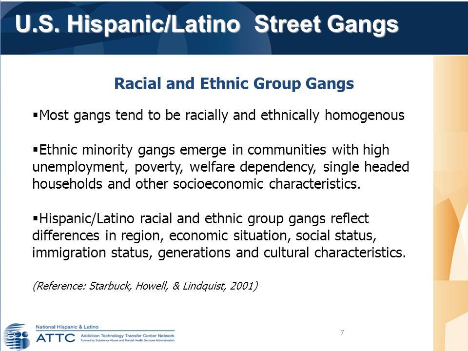 U.S. Hispanic/Latino Street Gangs U.S. Hispanic/Latino Street Gangs 7 Racial and Ethnic Group Gangs  Most gangs tend to be racially and ethnically ho