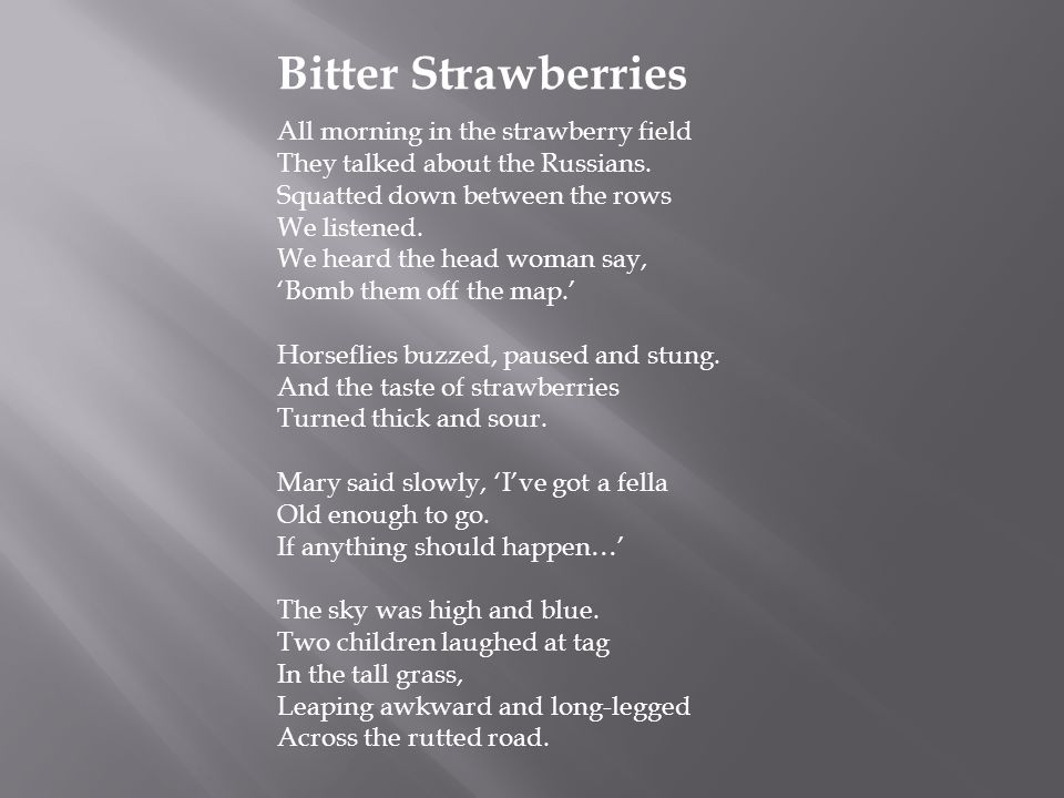 Bitter Strawberries All morning in the strawberry field They talked about the Russians. Squatted down between the rows We listened. We heard the head