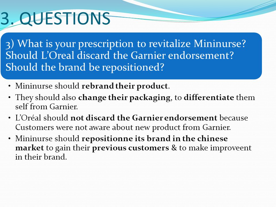 3. QUESTIONS 3) What is your prescription to revitalize Mininurse? Should L'Oreal discard the Garnier endorsement? Should the brand be repositioned? M