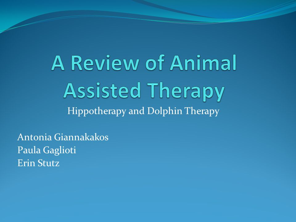 Hippotherapy and Dolphin Therapy Antonia Giannakakos Paula Gaglioti Erin Stutz