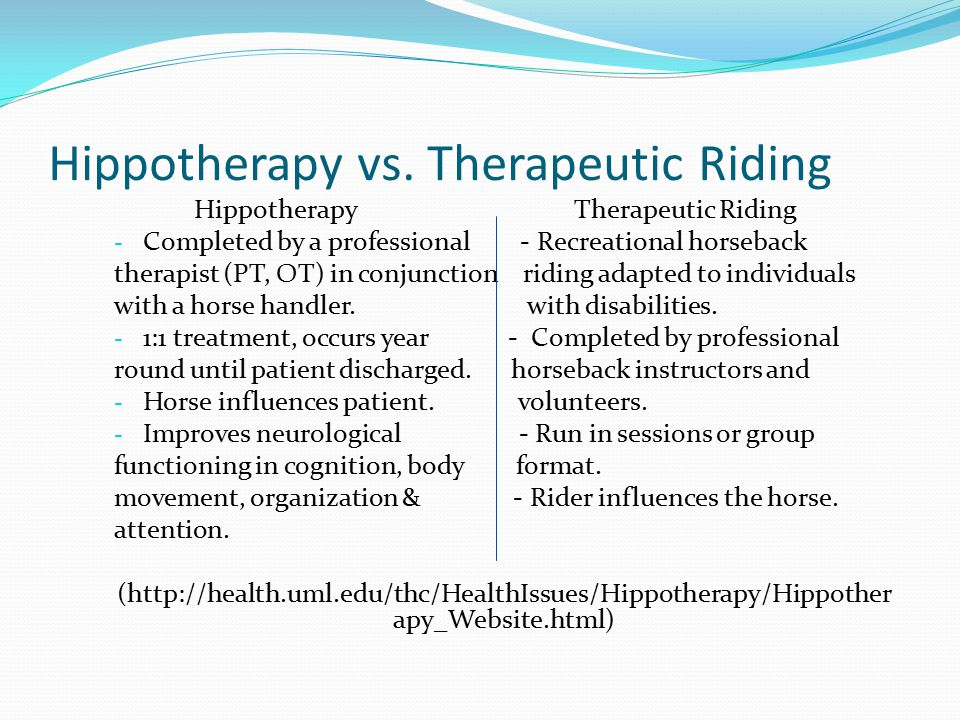 Hippotherapy Therapeutic Riding - Completed by a professional - Recreational horseback therapist (PT, OT) in conjunction riding adapted to individuals with a horse handler.