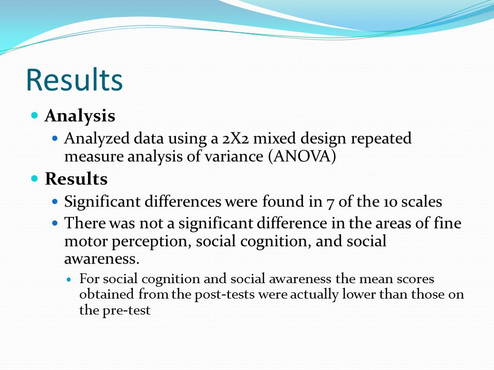Results Analysis Analyzed data using a 2X2 mixed design repeated measure analysis of variance (ANOVA) Results Significant differences were found in 7 of the 10 scales There was not a significant difference in the areas of fine motor perception, social cognition, and social awareness.