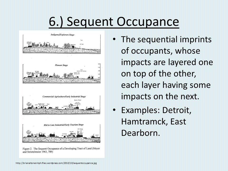 6.) Sequent Occupance The sequential imprints of occupants, whose impacts are layered one on top of the other, each layer having some impacts on the n