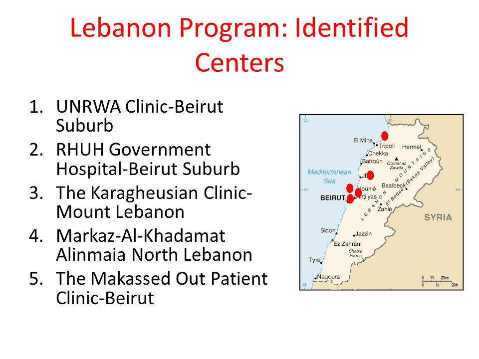 Lebanon Program: Identified Centers 1.UNRWA Clinic-Beirut Suburb 2.RHUH Government Hospital-Beirut Suburb 3.The Karagheusian Clinic- Mount Lebanon 4.Markaz-Al-Khadamat Alinmaia North Lebanon 5.The Makassed Out Patient Clinic-Beirut